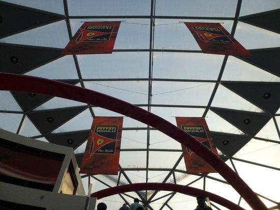 Ferrari World Abu Dhabi: The covered ceiling of the Ferrari World