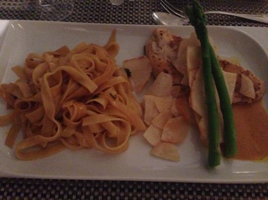Pimento Cucina Italiana : fettucine with orange butter sauce and crispy mero