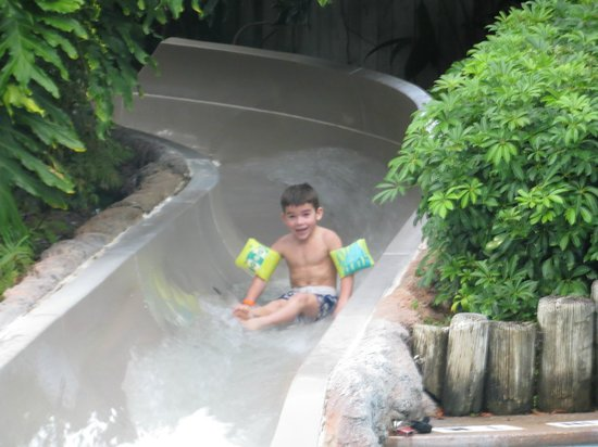 Disney's Port Orleans Resort - French Quarter: Son's 2nd time on slide with a BIG smile