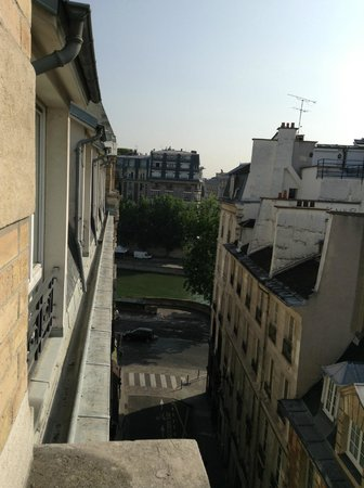 Citadines Saint-Germain-des-Pres Paris: View north from our room toward the River Seine