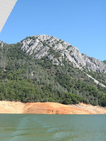 Lake Shasta Caverns : lake shasta- the caverns are up there on the other side