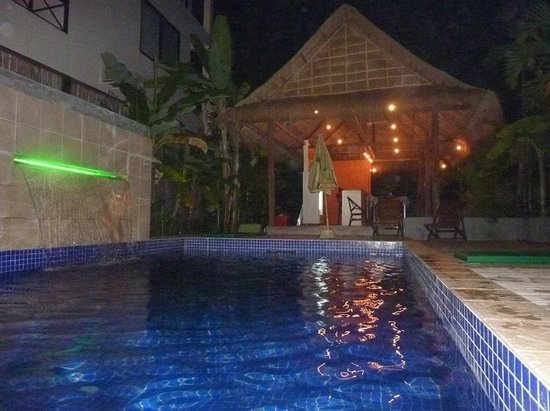 Green Village Angkor Hotel: Pool and bar at night