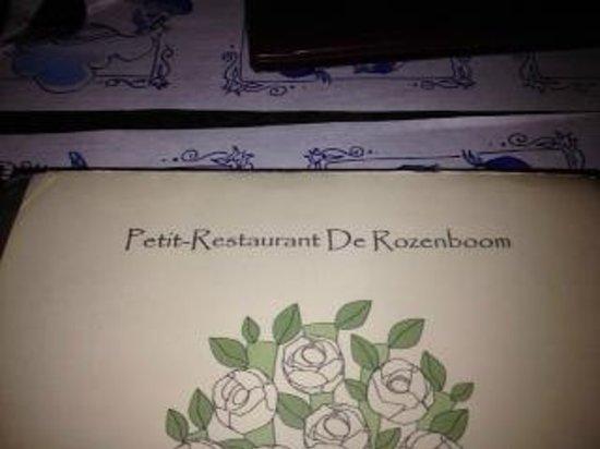 Petit-Restaurant de Rozenboom : Copertina carta menù