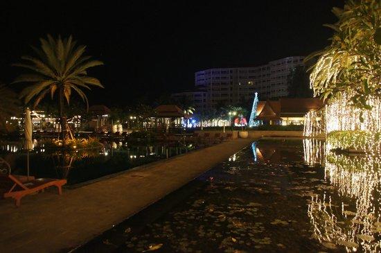 Dusit Thani Hua Hin: Pool and pond at night