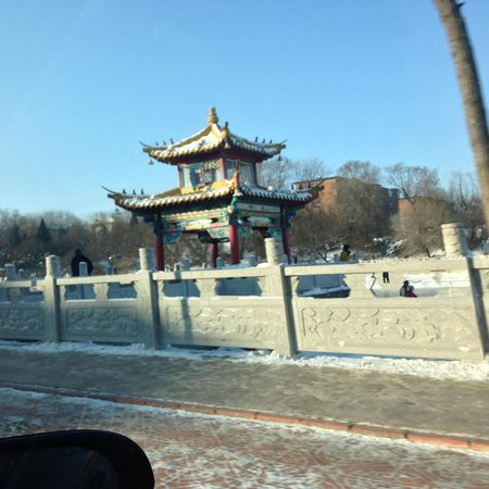 Liaoyang White Tower Park: The pagoda in the park, from the street