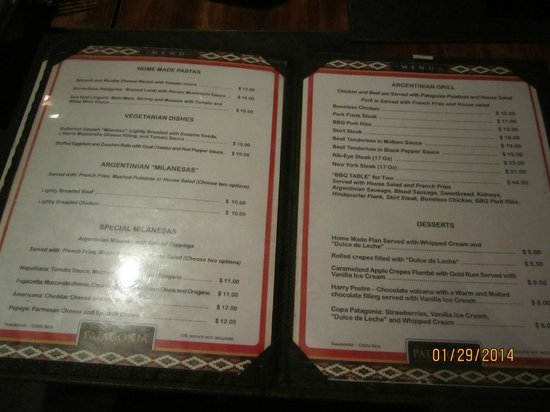The menu picture of patagonia argentinian grill for Table 52 brunch menu
