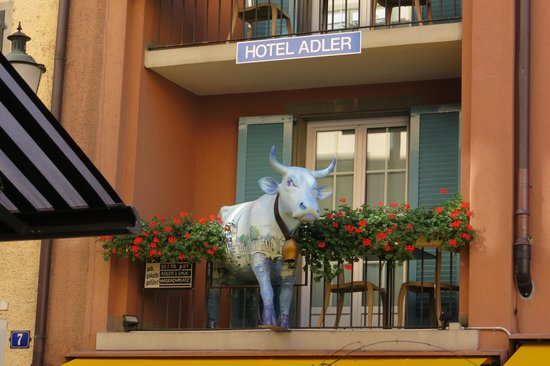 Hotel Adler Cow on Balcony