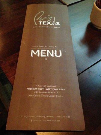 Paris Texas Bar & Restaurant: The Menu