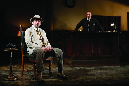 "Shakespeare Theatre Company: Richard Schiff & Randall Newsome as Night Clerk in ""Hughie"". Photo by Carol Rosegg."