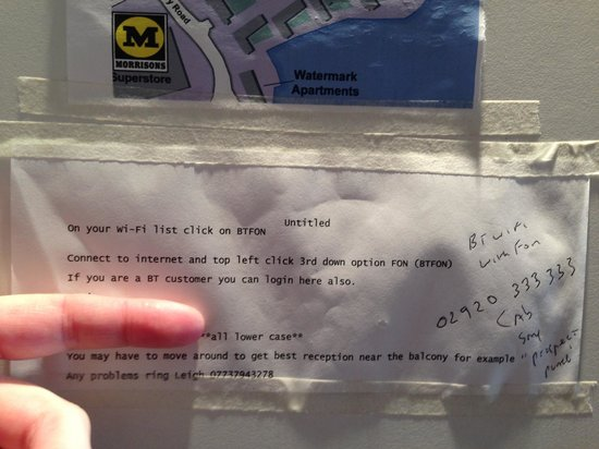 BayView Apartments: Wifi instructions for 'borrowed' signal