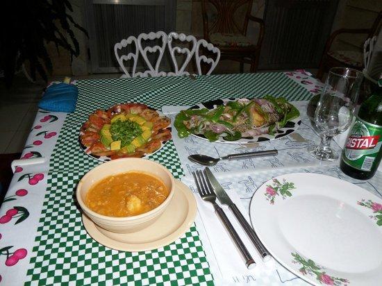 """Hostal """"El Villareno"""": pescado, soup  etc"""