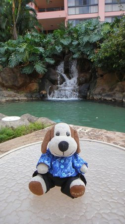 Kahana Falls: Me and the waterfall at the pool.