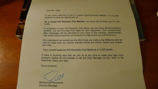 InterContinental Dar Al Tawhid: Welcome letter