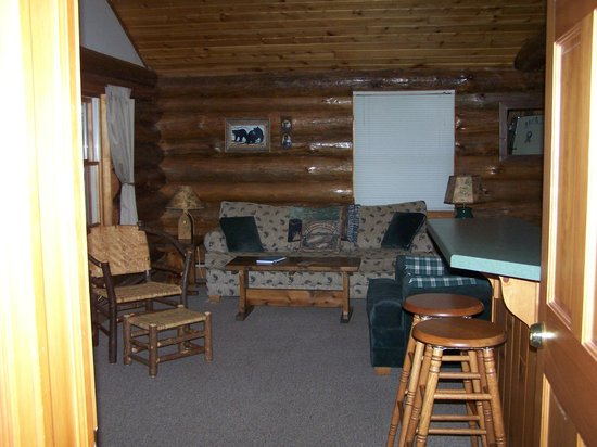 Whispering Pine Lodge: Log side by side living room