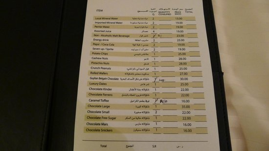 InterContinental Dar Al Tawhid: Overpriced rates for in-room snacks and mini fridge