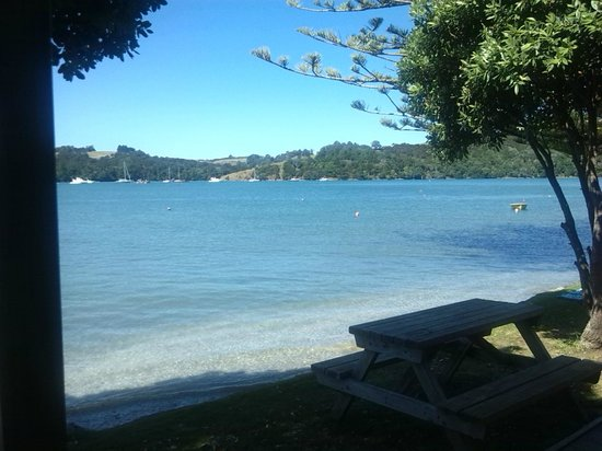 Sandspit Holiday Park : Looking off the deck, tide in.