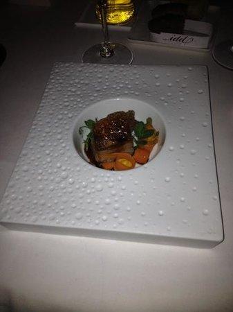 Restaurant In den Doofpot: third course, pig belly, on a hot plate