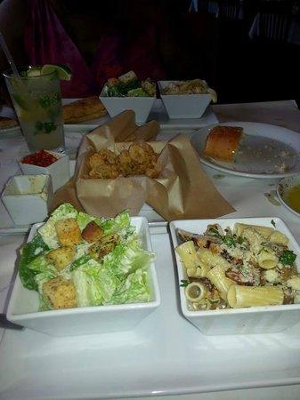 Romano's Macaroni Grill: Lunch Special...Fettuccine, Caesar Salad and Bruschetta