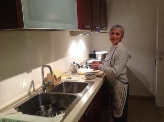B&B La Casa di Tufo: my wife preparing a meal at Casa di Tufo.