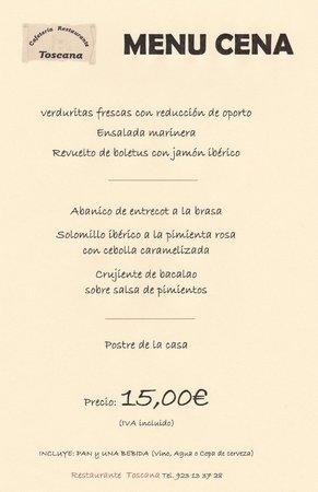 Menu especial cena foto di restaurante toscana santa for Menu de cenas