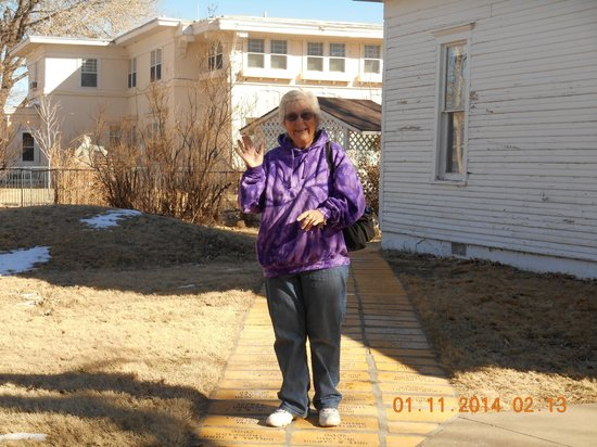 "Dorothy's House/Land of Oz: Me walking on the ""yellow brick road"""