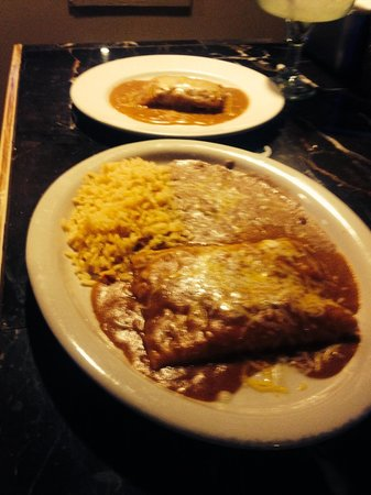 Girasoles Mexicn Food : Combination #2 comes with 2 cheese enchiladas, tamale with beans & rice. The  enchilada sauce is