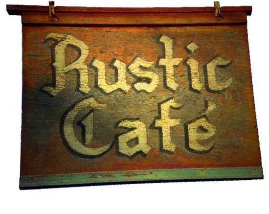 Rustic Cafe: Original Sign Made in 1969