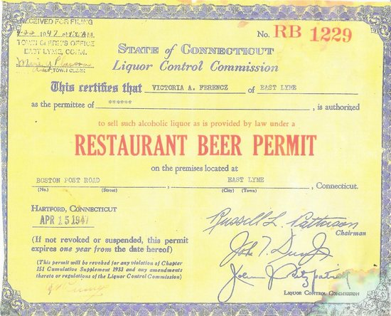 Rustic Cafe: Original 1947 Liquor License