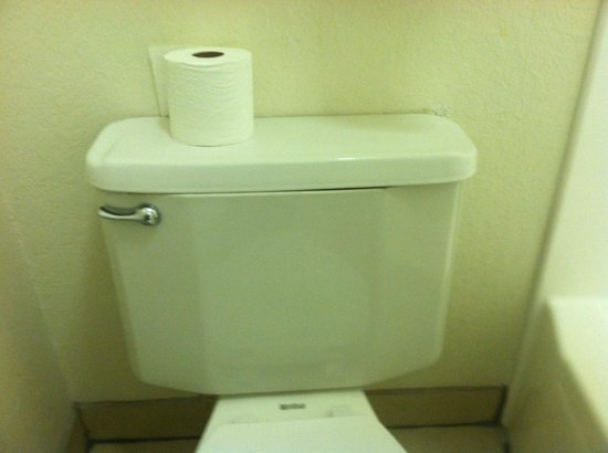 Super 8 San Bernardino/Hospitality Lane: Broken toilet had to take off tank cover to stop it from running every time