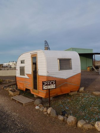 "Tumble In Marfa RV Park : The ""office"" where you check yourself in and pay"