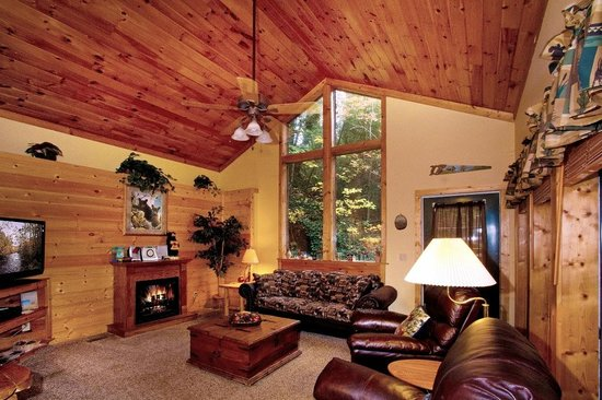 Black Bear Hollow Cabins: Great room! Fireplace, Hot tub, Secluded