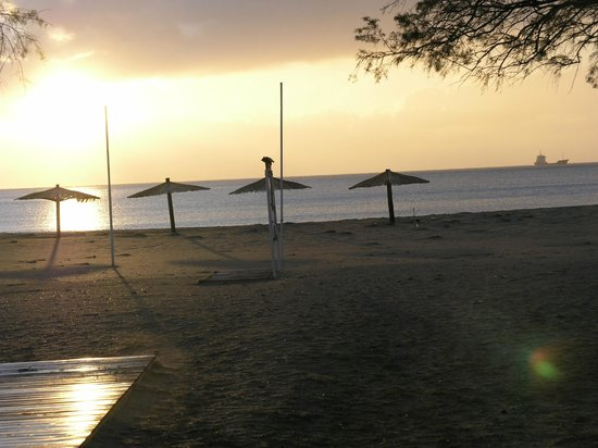 Olive Tree Cottages: sunset to the sandy beach