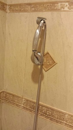 Garden Hotel: Shower head not upright. Poor maintenence..