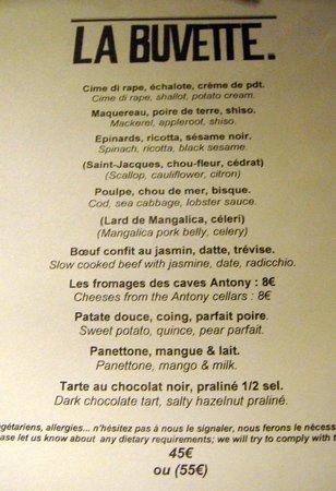 La Buvette : Le menu