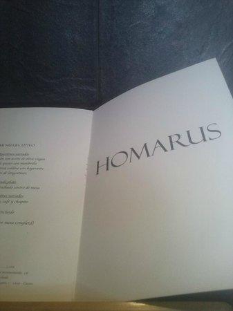 Restaurante Homarus : carta