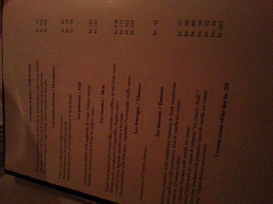 Brasserie Degas: Menu