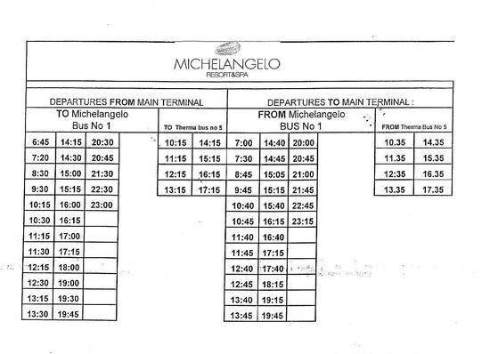 Michelangelo Resort and Spa: Orario degli autobus