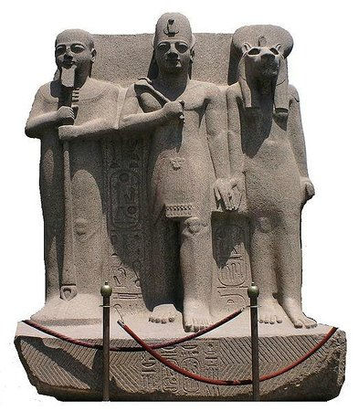 Memphis Historical Site : Ramesses II flanked by Ptah and Sekhmet