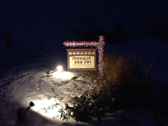 The Annville Inn sign in the snow