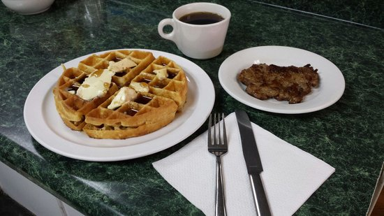 The Olde Cottage : Belgian waffle with meat and drink special $4.50 on Waffle Wednesdays.