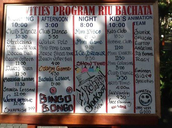 ClubHotel Riu Bachata: daily entertainments board