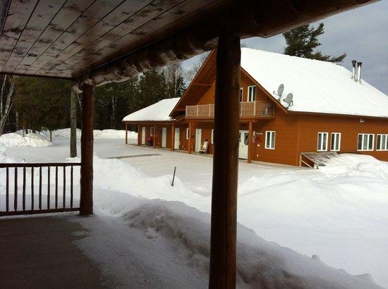 Motel Ours Bleu : Vue sur la réception depuis les chambres