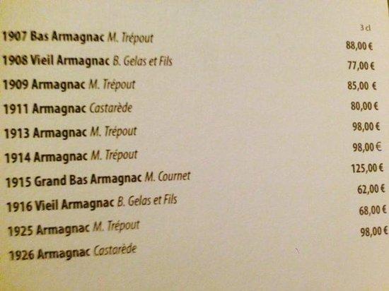 Chateau d'Artigny : scelta di Armagnac