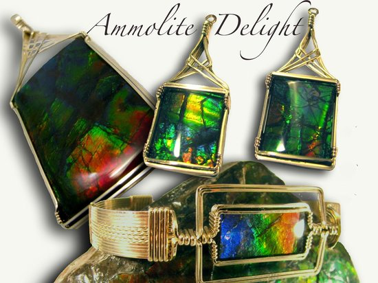 Joye Design Stone Art Gallery : Canada's beautiful Opal known as Ammolite is indigenous to Alberta. Exquisite fossilized squid.