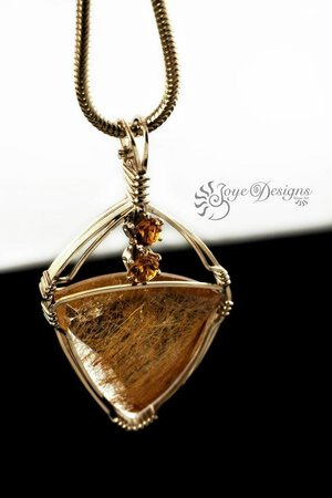 Joye Design Stone Art Gallery : Design your own jewellery with gemstones like this Rutilated Quartz and faceted Citrine pendant.