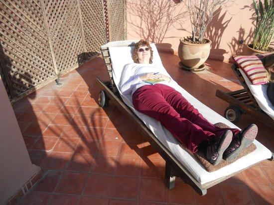 Darhani: Elizabeth enjoying the sun on the roof terrace