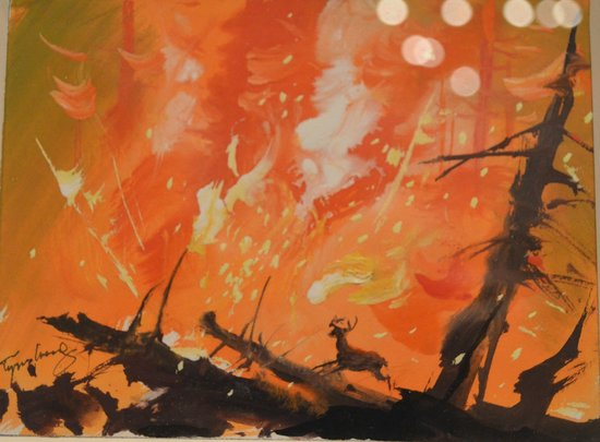 Walt Disney Family Museum: Fire from Bambi by Tyrus Wong