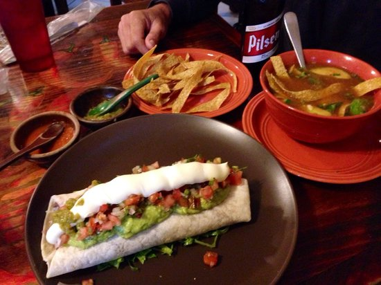 Jalapenos Central: Monster burrito with shredded beef and amazing tortilla soup