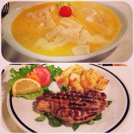 La Taverna di Via Stella: Polenta con formaggi locali e sotto costata di puledro con patate