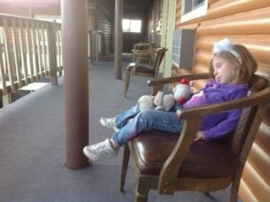 A-B-C Motel: 3 year old daughter loved sitting on the soft outdoor chairs...and fell asleep sometimes.